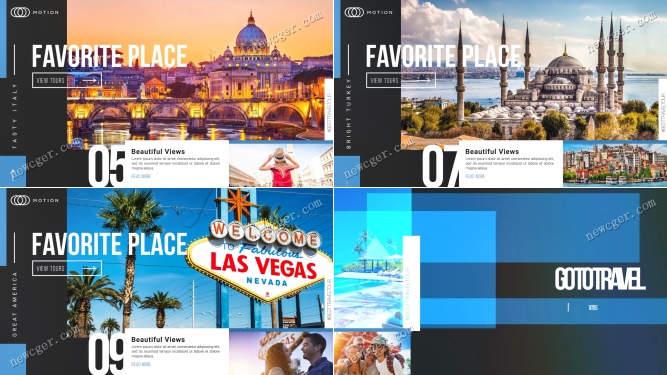 最爱之地,度假旅行主题的幻灯片展示AE工程