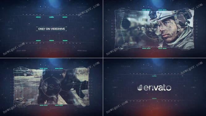 未来派高科技全息特效幻灯片展示AE模板