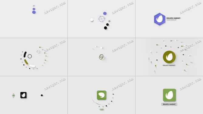 3款极简主义标志开场小动画AE工程