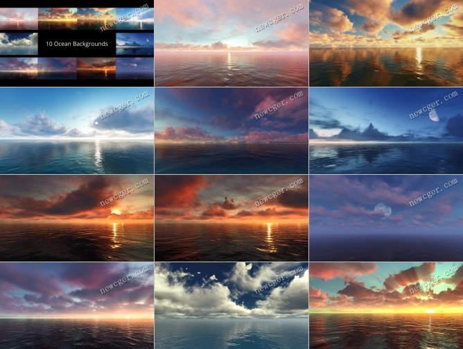 10段唯美漂亮的大海海面背景视频素材
