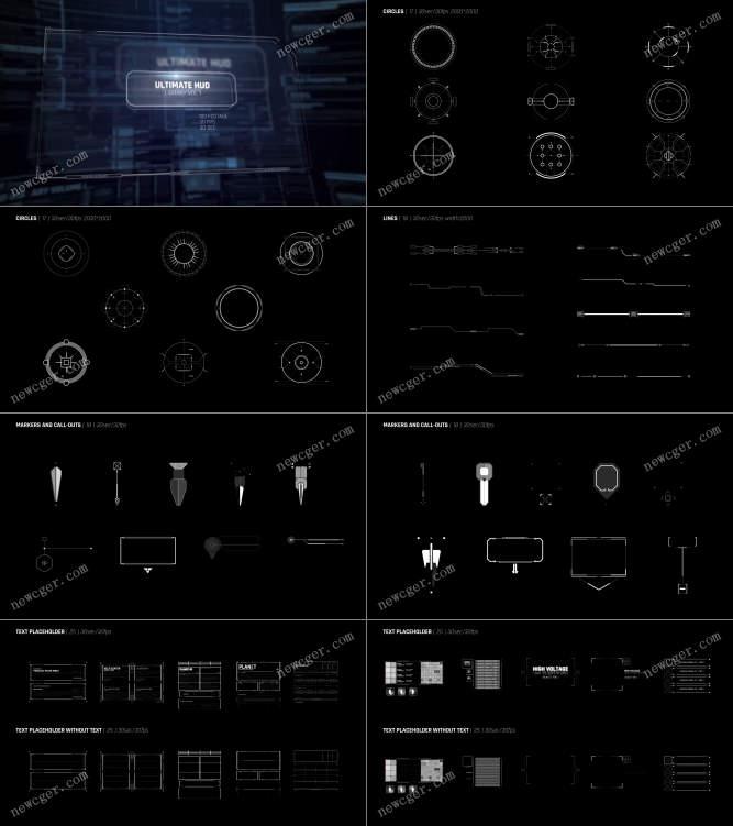 103个HUD高科技全息元素视频素材,含圆、线条、标记等