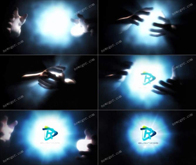 创意魔术手抓住光源并揉搓出标志的魔幻开场AE模板