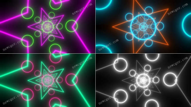4K级发光的霓虹灯星星和圆圈背景特效视频素材