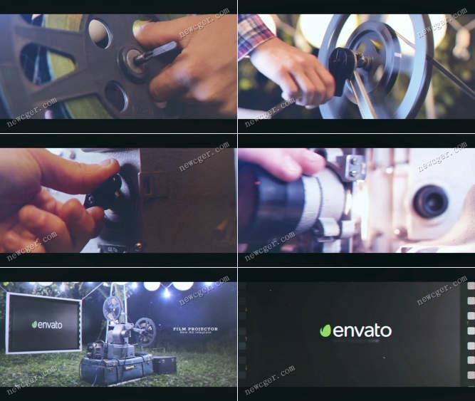 老式电影放映机荧幕上的标志开场片头AE模板