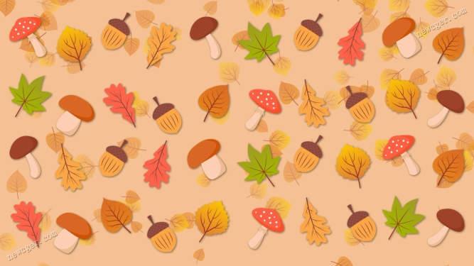 可爱的蘑菇、橡实、树叶图案背景循环视频素材