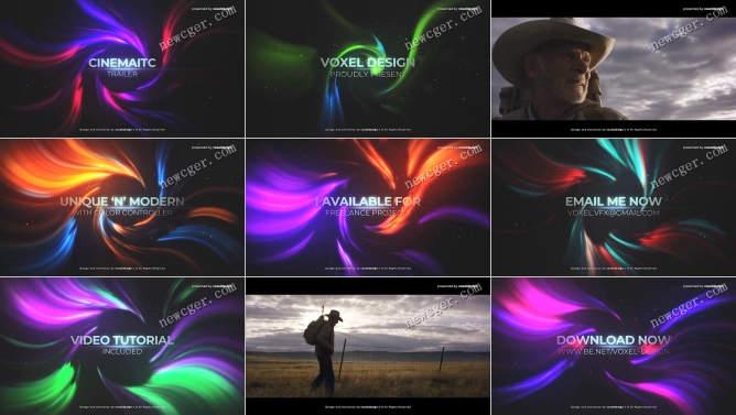 炫美螺旋光效电影标题预告片/开场序列AE模板