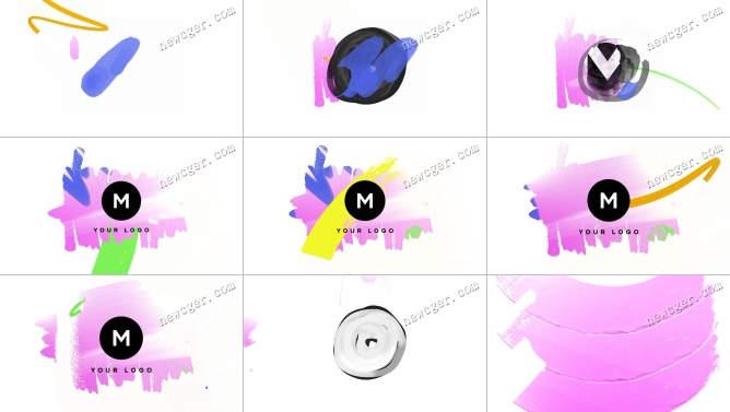 仅6秒快速的手绘笔刷标志开场小动画AE模板