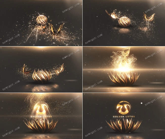 唯美粒子拖尾蝴蝶和绽放的金色莲花标志开场AE模板