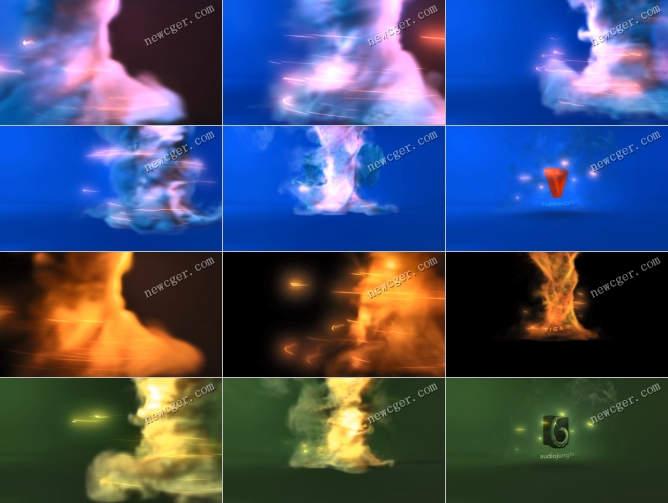 震撼的龙卷风标志揭示特效AE模板,色彩可调节