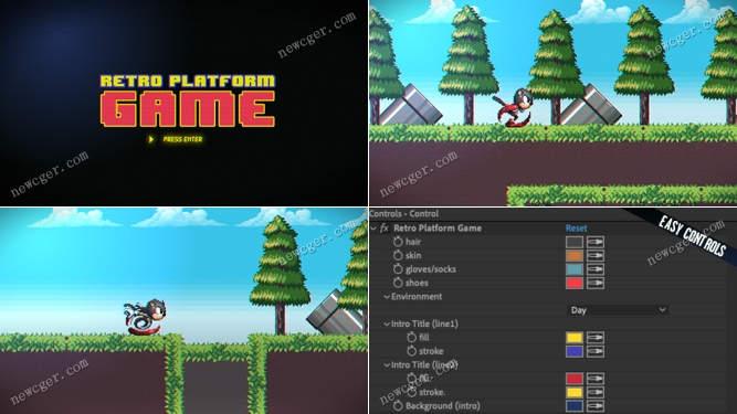 模拟索尼克复古像素游戏的开场小动画AE模板