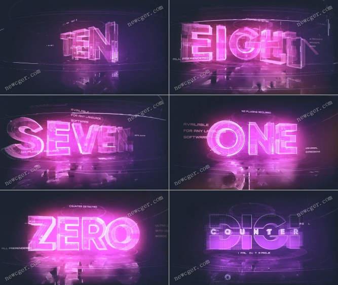 从10开始的英文数字霓虹灯倒计时特效AE模板