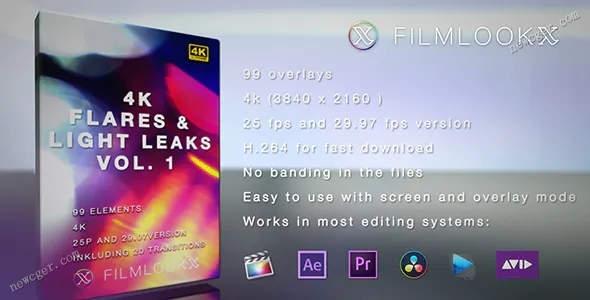 99个渲染画面的4K级镜头光晕和漏光特效视频素材