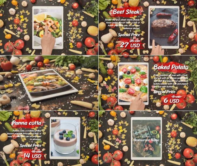 在IPAD上宣传展示的餐厅美食精选AE模板