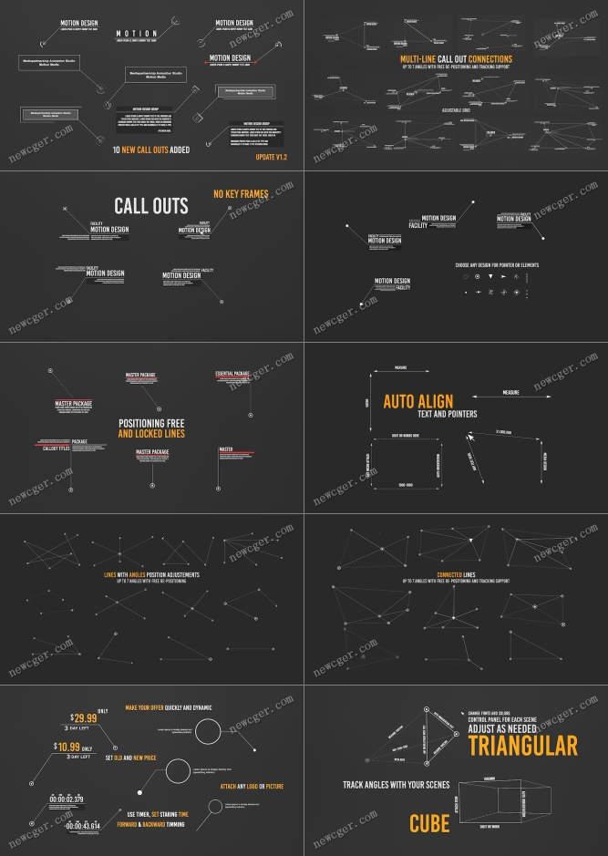 85个超棒的多尺寸的线条呼出文字说明动画AE源文件,最大达8