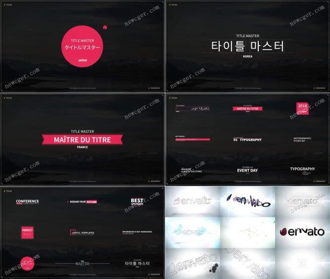 包含了文字标题、logo动画、字幕条等的素材包AE模板