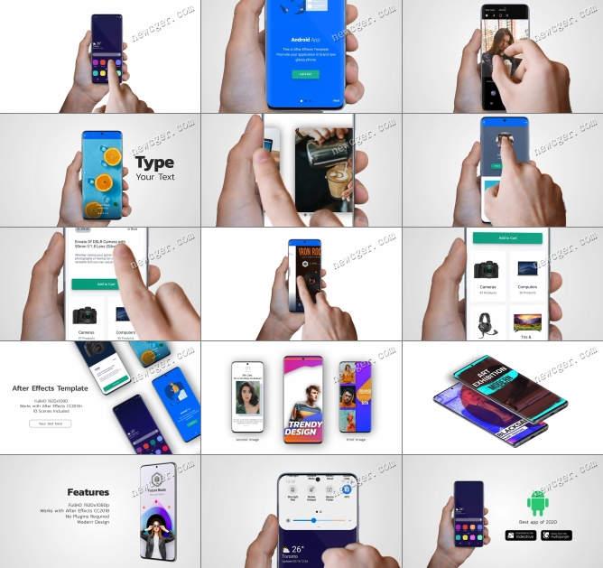 包含了40多个演示场景的安卓智能手机APP演示样机AE模板
