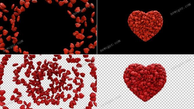 小的爱心巧克力汇聚成一颗大爱心又散开来的视频素材