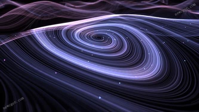 带抽象粒子线条的蓝紫色旋涡特效视频素材