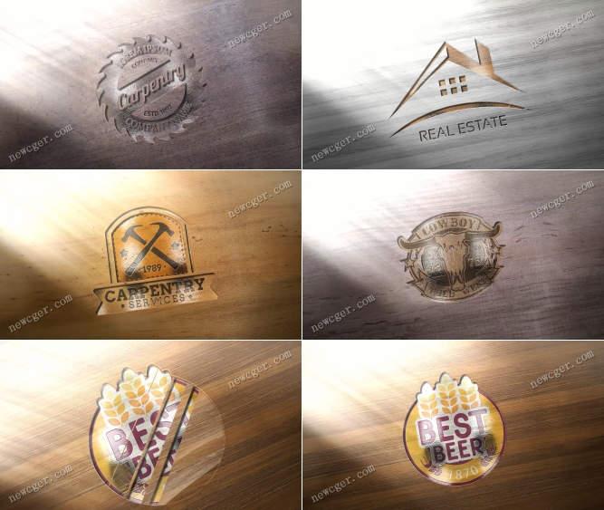 在木质纹理背景上出现的logo标志AE模板