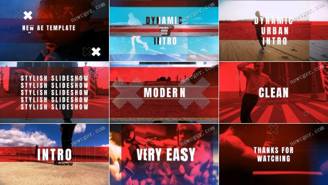 动感能量运动健身或嘻哈城市的宣传开场AE模板