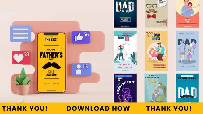 父亲节主题的竖屏动画AE模板.jpg