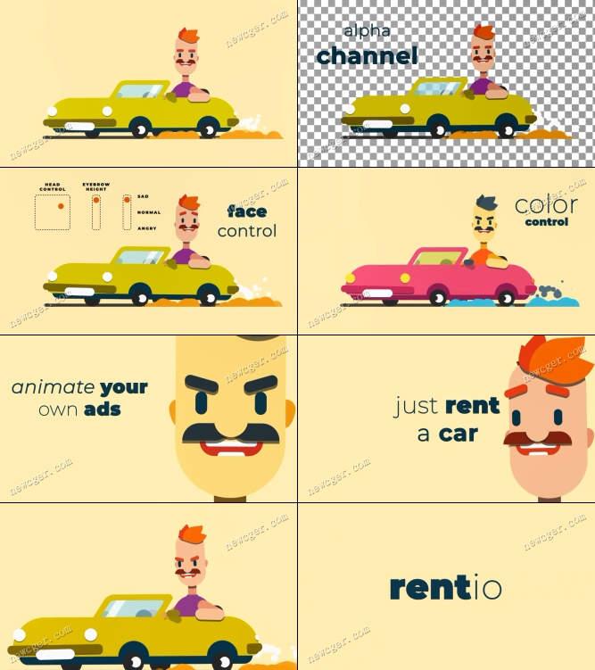 卡通汽车和人物动画AE模板.jpg